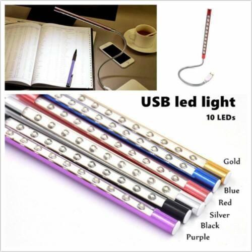 Bright 10LED USB Lamp Light Reading Lamp For Laptop Flexible Neck