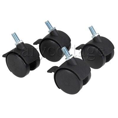 4pcs Black Abc Plastic Office Chair Casters Wheels Safe Replacement For Bases