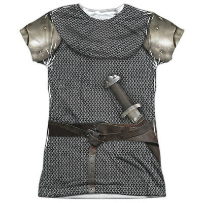 MEDIEVAL KNIGHT ARMOR 2-Sided Junior's T-Shirt Easy Halloween Costume - Easy Junior Halloween Costumes