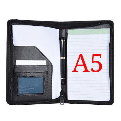 Zip A5 Pu Memo Note Pad Folder Paper File Holder Document Organizer Office H2c0