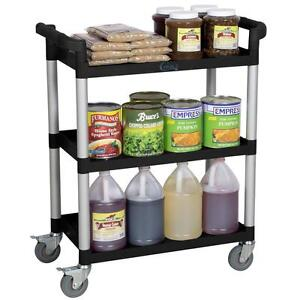 Heavy duty utility cart - 3 shelves - gray or black - holds 350 lbs. - FREE SHIPPING