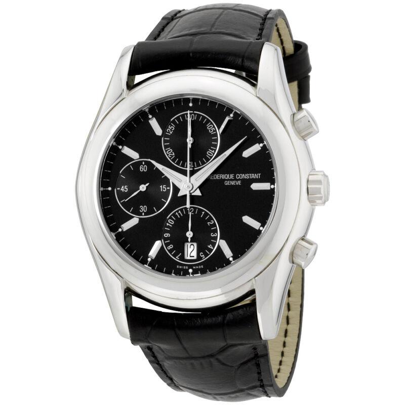 Frederique Constant Chronograph Black Dial Leather Strap Men's Watch FC392B5B6 - watch picture 1