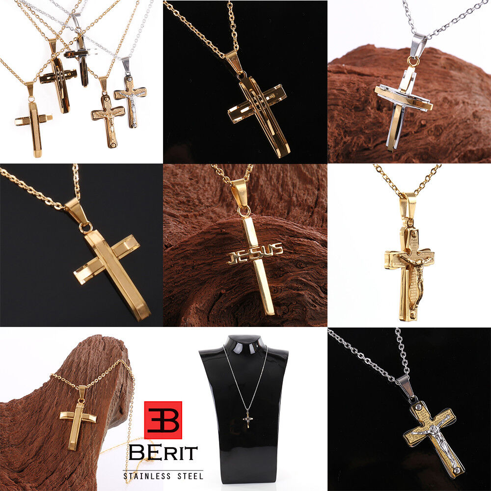 Edelstahl Herren Damen Anker Erbs Kette Kreuz Jesus Anhänger Farbe Gold Silber