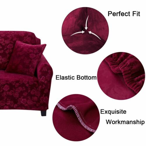 Stretch Velvet Sofa Cover Couch Loveseat Slipcover Home