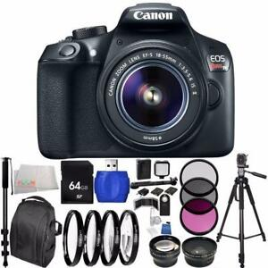 Canon EOS 1300D/Rebel T6 DSLR Camera with EF-S 18-55mm f/3.5-5.6 IS II Lens 64GB Bundle 28PC Accessory Kit. ++