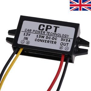 DC/DC Converter Regulator 12V Stepdown to 5V 3A 15W Car Power Supply Module UK