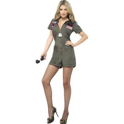 Smi - Top Gun Damen Kostüm Pilotin Playsuit Karneval (Top Gun Damen Kostüm)