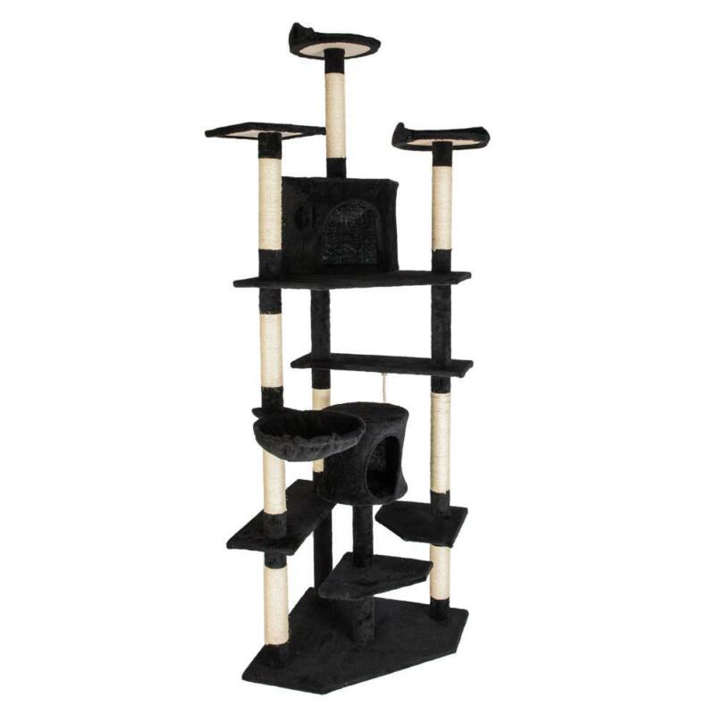 "80"" Cat Tree Pet Play House Cat Tower Condo Furniture Scratch Post Toy Bed Black"