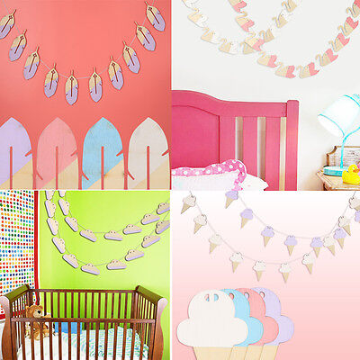 Wooden Garland Nursery Child Home Banner Bed Wall Hanging Decor Cloud Ice Cream - Ice Cream Decorations