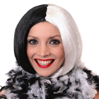 IL HALLOWEEN Half BLACK WHITE Bog Wig Villain Character Fancy dress costume 2161](Black And White Halloween Characters)