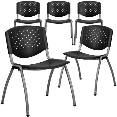5 Pk. Hercules Series 880 Lb. Capacity Black Plastic Stack Chair With...