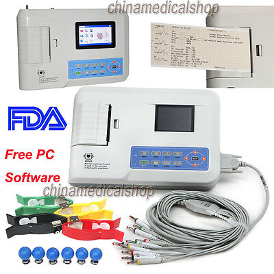 Fda 3 Channel 12 Lead Electrocardiograph Ecgekg Machine Ecg-sync Softwareusb