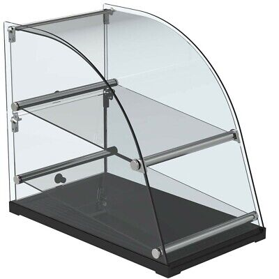 Marchia Ca70 14 Deep Curved Glass Dry Countertop Display Case - 2.5 Cu. Ft.