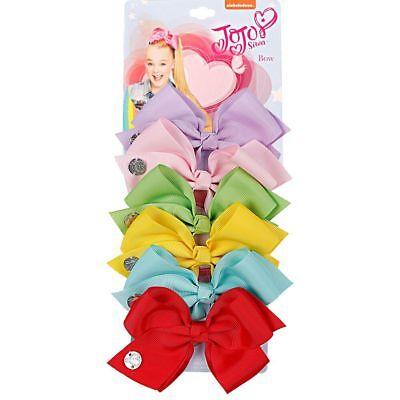 6pcs JOJO SIWA Unicorn Hair Bow Clip White Pom pom Horn Rainbow Bow Hair Gri