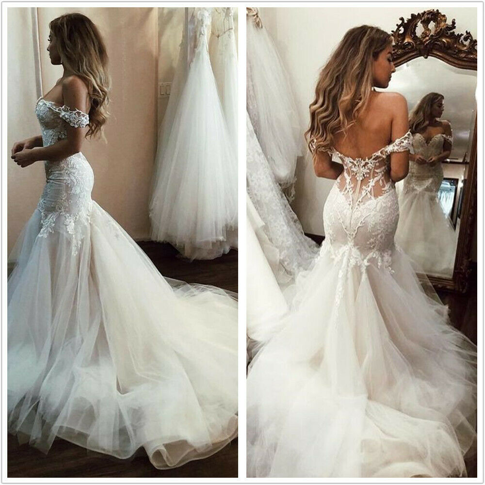 Sexy Backless Lace Mermaid Wedding Dresses Sweetheart Off The Shoulder Custom Ebay