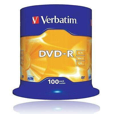 VERBATIM 100-er SPINDEL 4,7GB DVD-R ROHLINGE 16 x SPEED SPEICHER 43549 / 120Min.