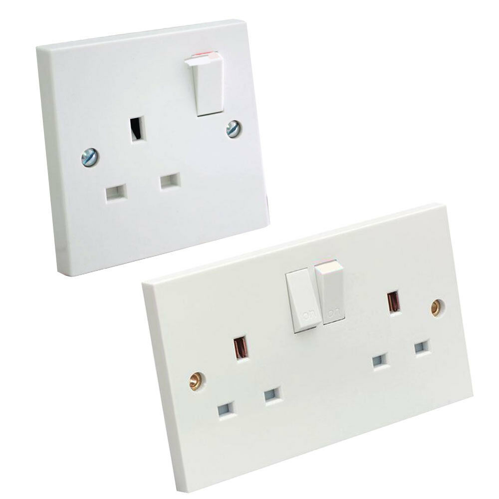 13 amp double or single wall socket 1 or 2 gang electric