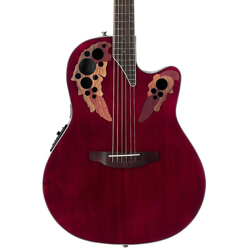 Ovation CE48 Celebrity Elite Acoustic-Electric Guitar Transparent Ruby Red LN
