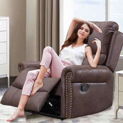 Brown Recliner Chair Reclining Recliner Couch Sofa Leather Home Theater Seating Furniture