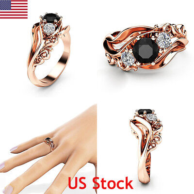 (Women Exquisite Black Sapphire 18k Rose Gold Ring Flower Rings Band Wedding Gift)