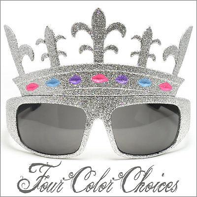 Crown Sunglasses Glitter Halloween Queen Princess Party Gold Silver 2411 (Gold Glitter Sunglasses)