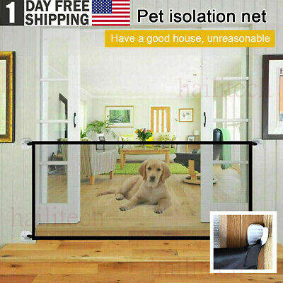US Retractable Magic Mesh Baby Pet Dog Cat Gate Safe Net Guard Fence Enclosure