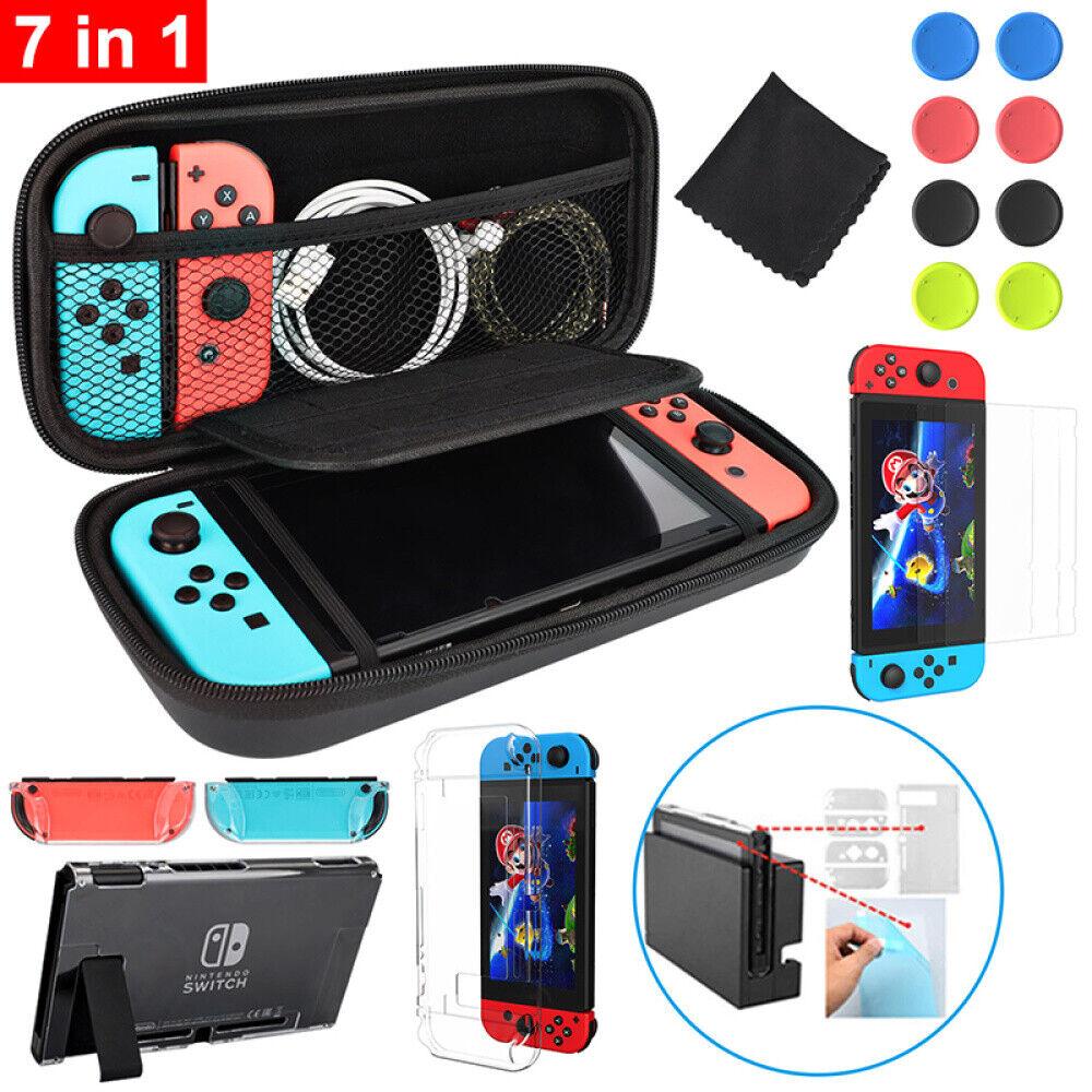 Für Nintendo Switch 7 in 1 Tasche Hard Bag EVA Case+Schutz hülle+ Hartglas DHL