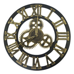 12 Industrial Wall Clock 3D Wheel Gear Steampunk Retro Decorative Hanging Decor