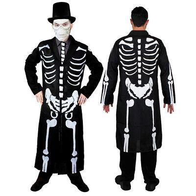 Erwachsene Schwarz & Weiß Skelett Knochen Lang Mantel Krawatte Halloween Kostüm