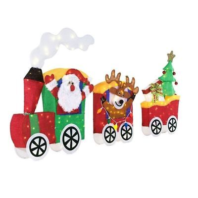 Tinsel Santa with Train Set 75.5 inch LED Lighted