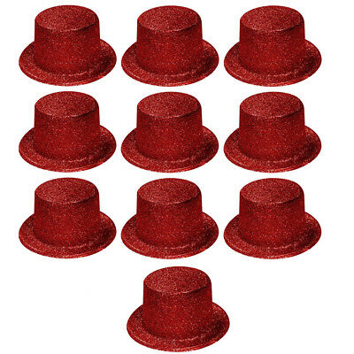 Glitter Top Hats (10 Red Glitter Sparkly Top Hats Fancy Dress Ladies Hen Night Party Magician)