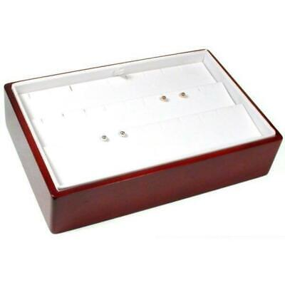 White Faux Leather Earring Display With Rosewood Finish