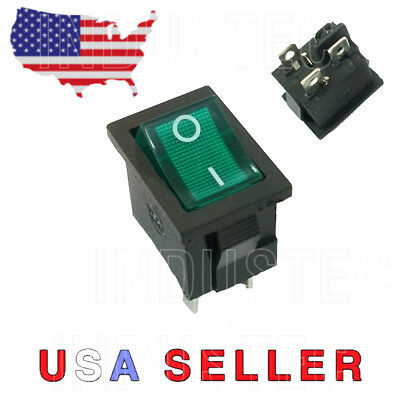 Dpst Mini Rocker Switch On-off Wgreen Lamp 6a25010a125 V Kcd1-201bua 204