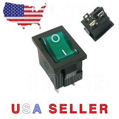 Dpst Mini Rocker Switch On-off Wgreen Lamp 6a25010a125 Vac Kcd1-201bua 204
