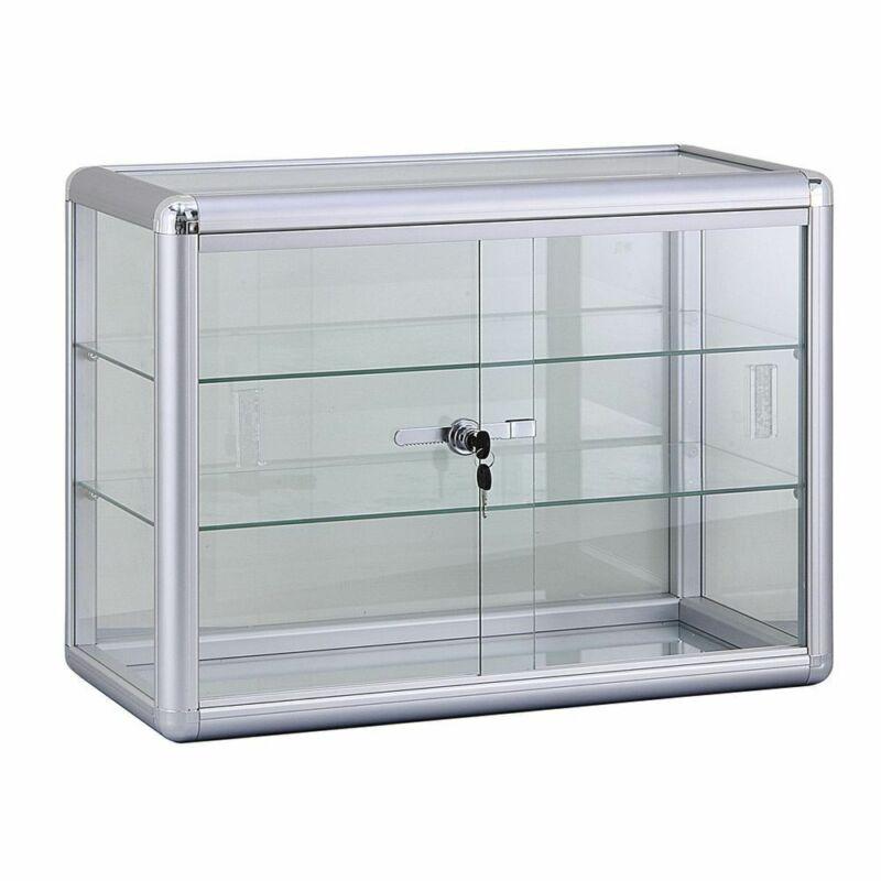 2 Shelf Aluminum Frame Glass Countertop Showcase, 64846
