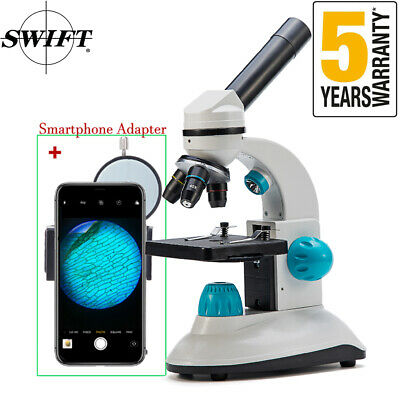 Swift 40x-400x Kids Beginner Science Compound Microscope With 28mm Phone Adapter