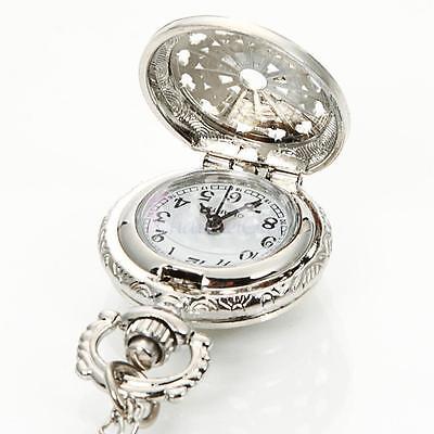 Antique Vintage Silver Women Pocket Chain Quartz Pendant Watch Necklace US