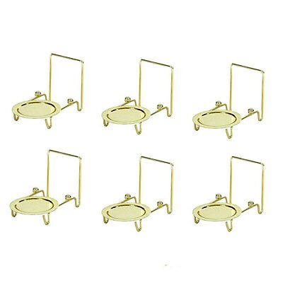 6pcs Tea Cup & And Saucer Stand Display Easels Brass Etched Base - Tea Cup Display
