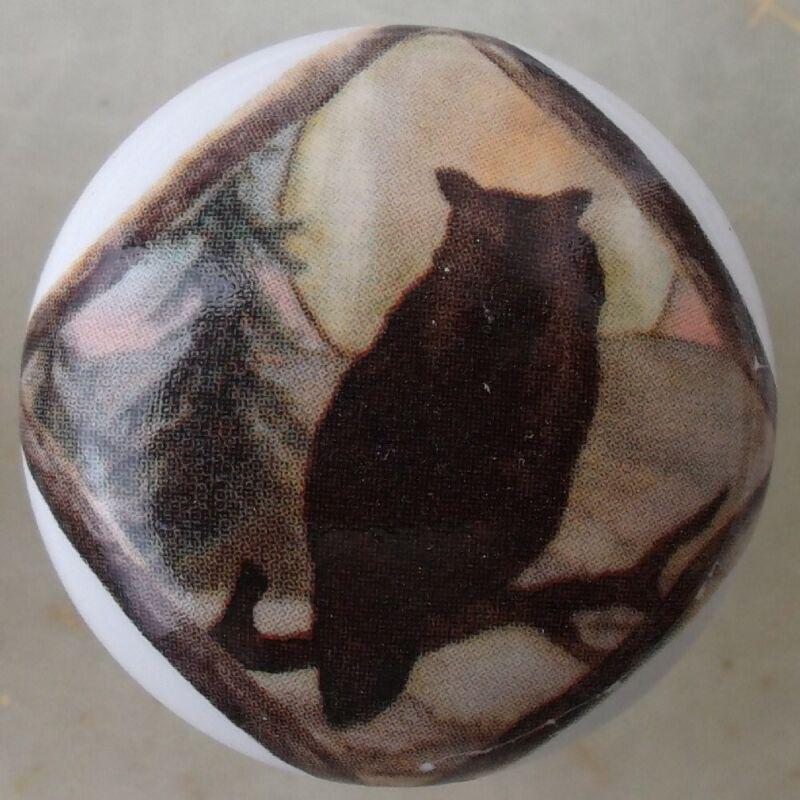 Cabinet Knobs Domestic bird Owl Diamond Lodge silhouette