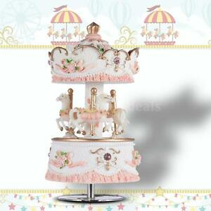 Windup 3-horse Carousel Music Box Melody Castle in the  Pink A5E5