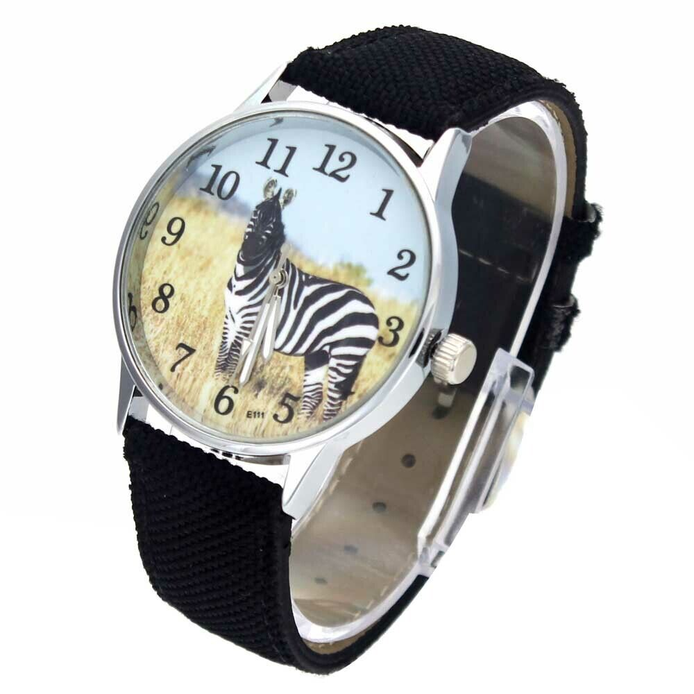 Zebra Horse Print Fashion Accessories Men Women Canvas Band Sport Quartz Watch