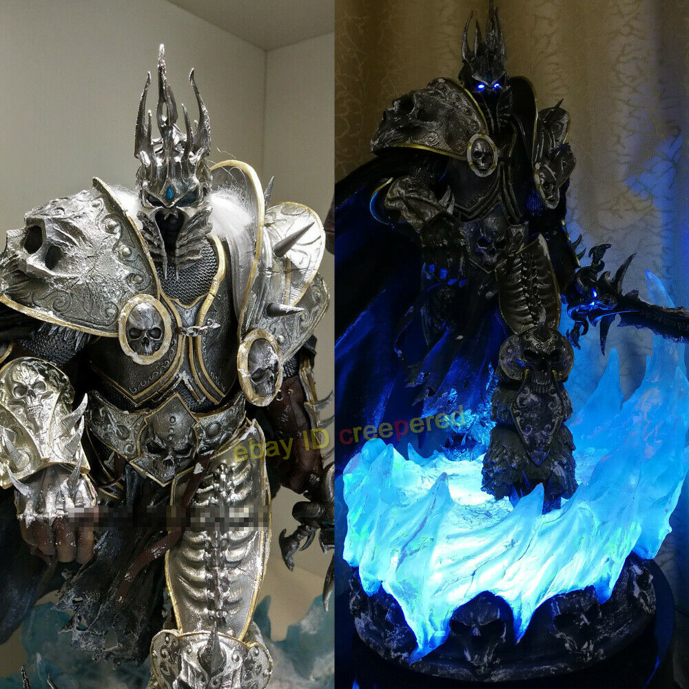 Details About Wow Warcraft Arthas Menethil Statue Lich King Sculpture Resin With Led Brand New