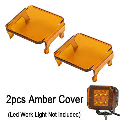 2X Amber Led Work Light Off Road Lens Cover For 3X3 Inch 16W 24W Square Cube Pod