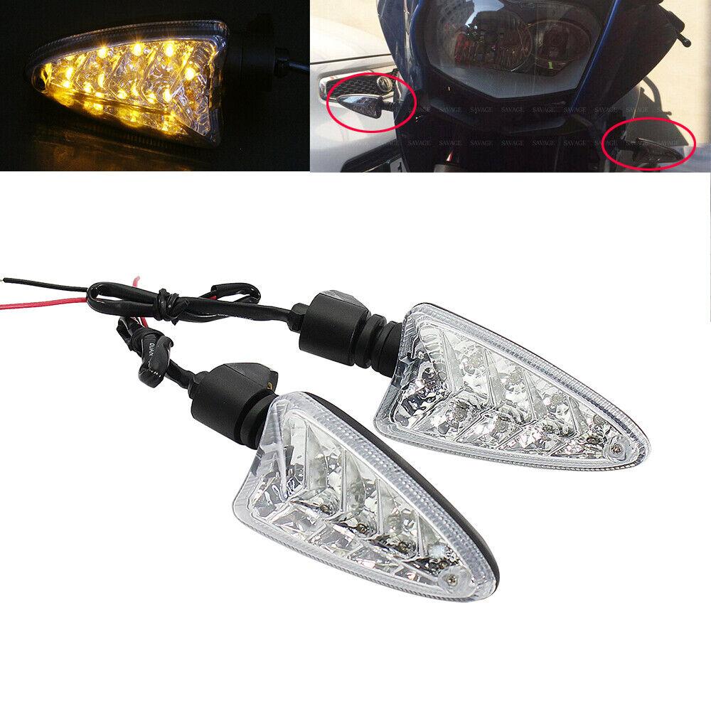 Clear 675 Shiwaki 2 X Front//Rear Amber LED Turn Signal For Triumph Tiger 800//1050