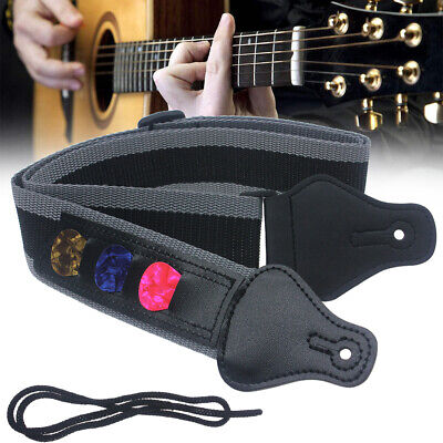 Guitar Strap With 3 Pick Holders Best For Electric/Acoustic Guitar Bass (Best Nylon Acoustic Guitar)