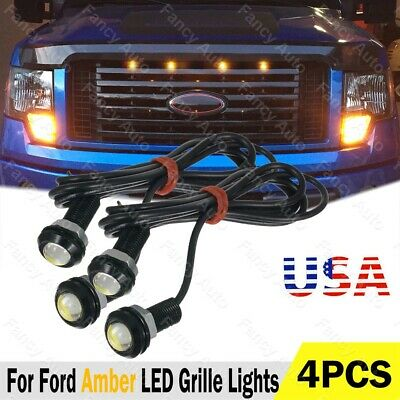 4pcs LED Amber Grille Lighting Kit Universal Fit Truck SUV Ford SVT Raptor Style
