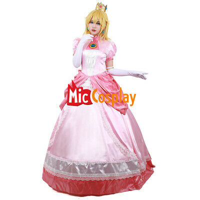 Princess Peach Cosplay Costume Adult Women Girl Halloween Pink Fancy Dress - Peaches Costume
