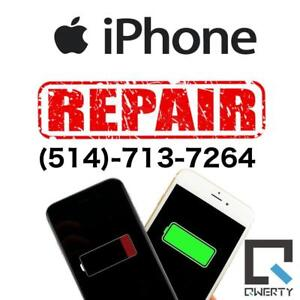Service de réparation iPhone  (514)-713-7264   55s5cSE66s6+6s+77+88+ / Remplacement de batterie iPhone iPad