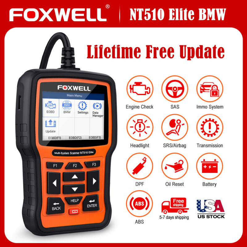 Foxwell NT510 For BMW Full System Engine ABS SRS Scanner SAS DPF TPMS EPB Reset