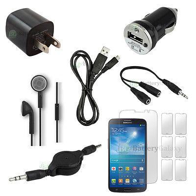 Samsung Lcd Headset - 12pc USB Cable+2X Charger+6X LCD Protector for Phone Samsung Galaxy Mega 50+SOLD